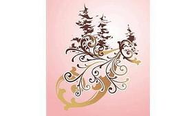 粉色调背景上的卷草与树木图案