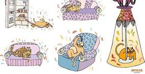 可爱的小猫调皮的猫咪可爱的小猫卡通图