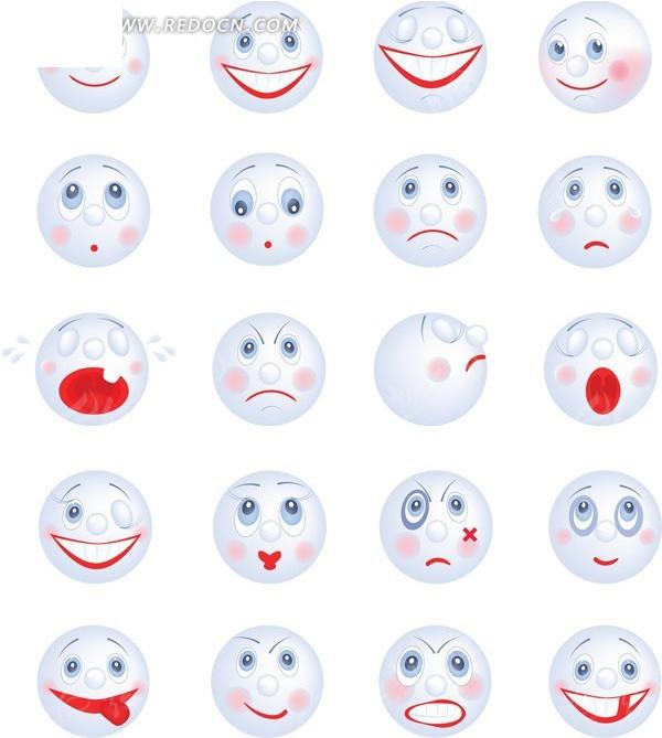可爱卡通笑脸表情图标矢量素材AI免费下载 红动网