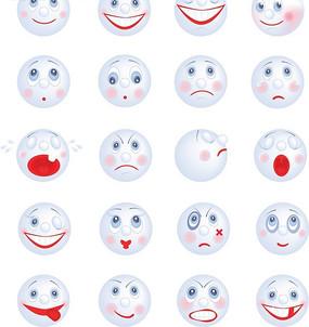 可愛卡通笑臉表情圖標矢量素材