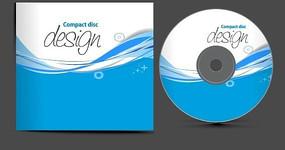 蓝色动感线条光盘封面封套