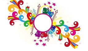 插画—圆形边框周围的高楼五角星箭头和彩色花纹