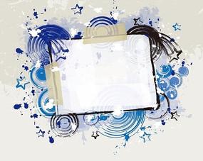 装饰边框的蓝色同心圆和五角星插画