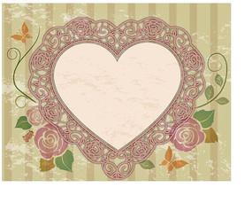 竖条纹背景前插画花朵绿叶枝条蝴蝶装饰的心形边框