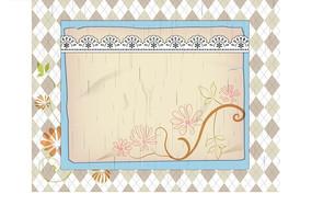 菱形背景前的矩形边框和插画枝条和手绘花朵绿叶