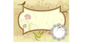 黄色背景前的插画花朵绿叶和鸟以及棕色边框