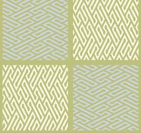 褐色背景上的四格米白色和淡蓝色迷宫图案