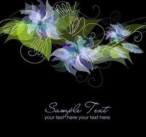 蓝色花朵绿叶底纹背景卡片设计