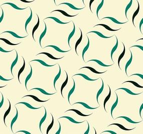 米白色背景上的叶子图形构成的图案