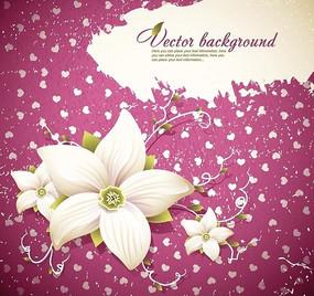 精美白色花朵可爱粉色底纹背景设计