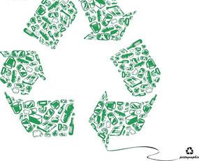 各种瓶瓶罐罐构成的绿色回收标志插画