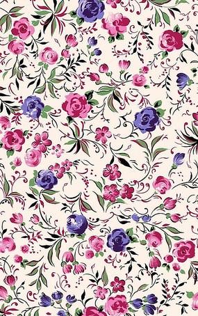 粉色底粉色紫色插画花朵和绿叶底纹psd素材