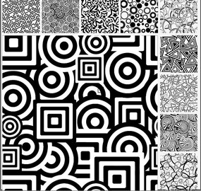 黑白圆环圆形五角星底纹图案