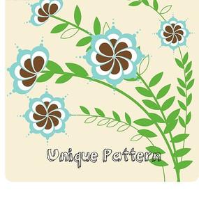 精美花朵绿叶花纹背景设计