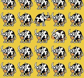黄色背景奶牛图案