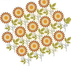 橘色花朵绿叶底纹背景设计