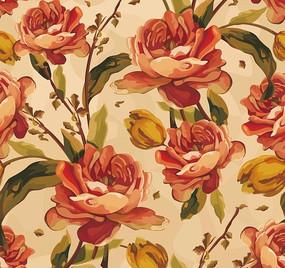 花卉背景素材—红色花朵绿叶以及花苞构成的图案