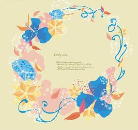 插画—围成圆形边框的花朵五角星叶子和蓝色花纹