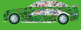 各种汽车标志组成的创意汽车PSD分层素材