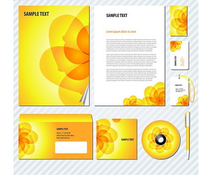 黄色花纹企业VI设计模板