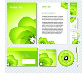 绿色花纹企业VI设计模板