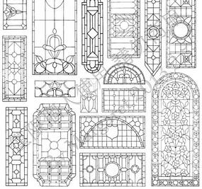 传统镂空窗格雕花图案