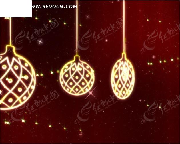 圣诞视频 发光旋转的吊饰 吊球 树叶 天使 雪花