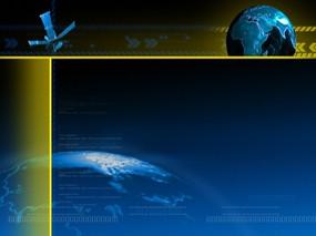 地理视频背景 蓝色科技卫星和转动的地球仪