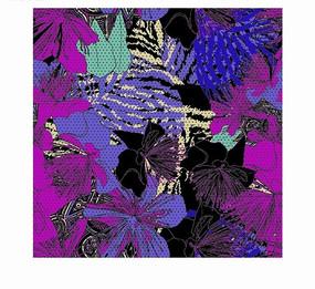 手绘枚红色蓝色花朵和绿叶背景素材