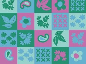 粉色蓝色绿色方格和卡通枝条花朵绿叶和鱼形背景素材