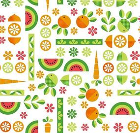 卡通背景素材—花朵绿叶西瓜柠檬胡萝卜