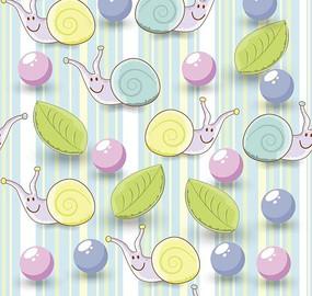 蓝色条纹背景泡泡叶子蜗牛图案