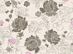 粉色底灰色牡丹花和叶子底纹