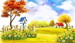 花叢中的鳥巢秋天景色卡通插畫