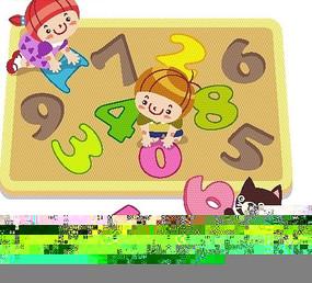 数字和字母以及男孩女孩和猫咪卡通画