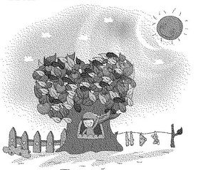 太陽下的籬笆和樹干里的女孩黑白卡通畫