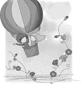 開花的枝條和熱氣球上的男孩女孩黑白卡通畫