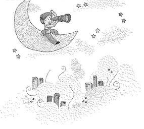 云朵上的房屋和月亮上拿著望遠鏡的男人黑白卡通畫