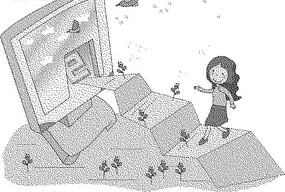 通往電腦的階梯和階梯上的女人黑白卡通畫