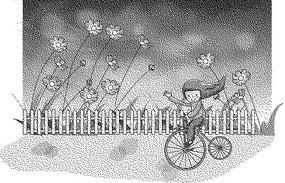 籬笆后的花朵和騎自行車的女孩黑白卡通畫