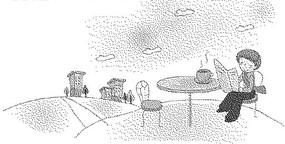 道路上的建筑和桌邊看報紙的男人黑白卡通畫