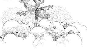 云層上坐在飛機上的男人黑白卡通畫