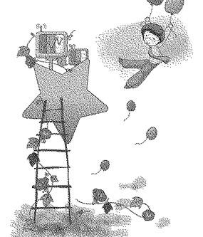 直達星星的梯子和拉著氣球飛的孩子黑白卡通畫