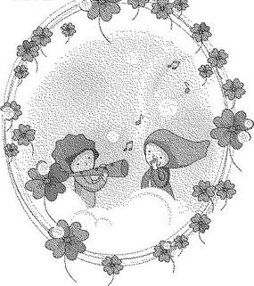 四葉草和云朵上的兒童黑白卡通畫