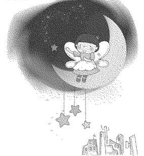 高樓大廈上的星星和月亮上的女孩黑白卡通畫
