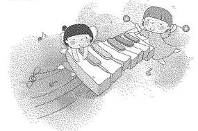 鋼琴琴鍵上的女孩黑白卡通畫