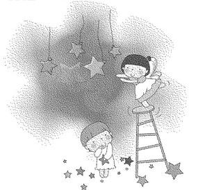五角星下梯子上的女孩和拿著五角星的女孩黑白卡通畫