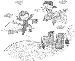 高樓大廈和紙飛機上的男孩女孩黑白卡通畫