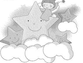 云朵上的五角星和女孩黑白卡通畫