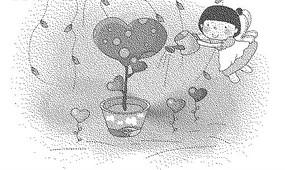 給心形盆栽澆水的女孩黑白卡通畫